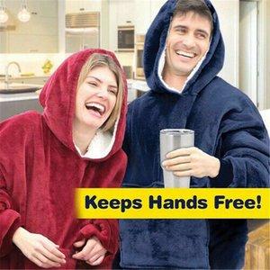 Hiver polaire Wearable Blanket Sleeves Pocket Micro famille Plush bras épais Sweat à capuche chaud polaire Vêtements de nuit thermique Robe de nuit