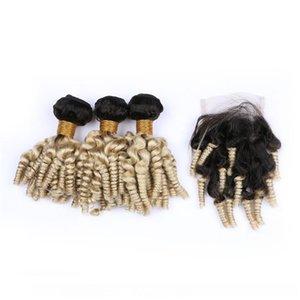 H # 613 Ombre Brezilyalı Teyze Funmi İnsan Saç 3bundles 1b Ve Dokuma ile Kapatma Ombre Sarışın Funmi Kıvırcık Bakire Saç Dantel Kapanış 4x4