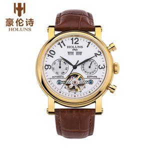 Designer relógios homens mecânicos automáticos assistir com couro de moda tira superior Negócios de luxo Retro esqueleto BRW aço inoxidável