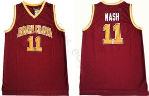 NCAA Санта-Клара Bronchos колледжа Стив # 11 Нэш Баскетбол Джерси Vintage Red прошитой Стив Нэш университет Трикотажные рубашки S-XXL