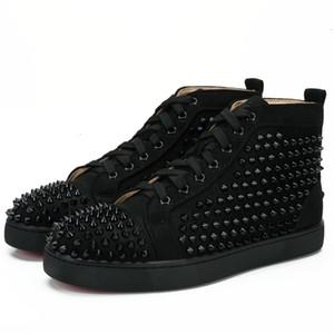 New Designer Studded Spikes Flats Shoes para os amantes de Mulheres do Partido das sapatilhas dos homens de couro genuíno 35-46 Atacado frete grátis N2