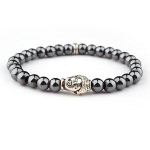 Довольно натуральный камень гематит браслеты для женщин мужчин шикарные подвески браслеты счастливый гематит золотой серебристый эластичный браслет головы Будды