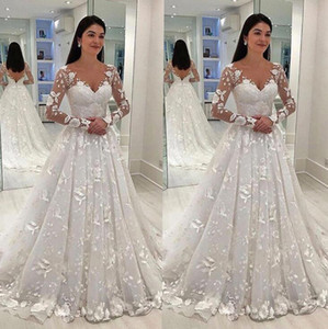 Seksi Kadınlar Gelinlik Beyaz Dantel Uzun Elbise Derin V yaka Uzun Mesh Dantel Kol A-line Pileli Kat uzunlukta elbiseler