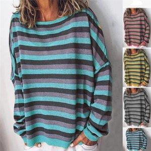 Womens Striped Loose Autumn Hoodies Woman O-neck Plus Size 5XL Bat Sleeve Casual Sweatshirts Women Fashion Patchwork Clothes