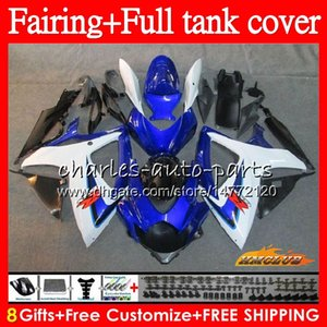 Kit For SUZUKI GSX-R600 white blue GSXR750 GSXR 600 750 CC 06 07 73NO.71 GSX R750 600CC 750CC GSXR-750 K6 GSXR600 2006 2007 Fairing +Tank