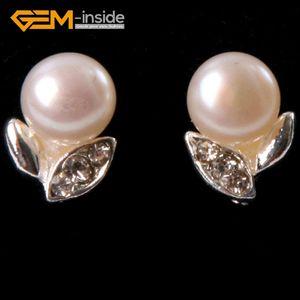 New Round Pink Purple Black White Pearl Earrings Leaf Frame Stud Earrings 6-7mm Cultured Pearl Beads Jewelry 1 Pair Women Gift