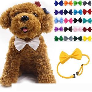 Adjustable Pet Dog Bows Tie Neck Accessory Necklace Collar Puppy Bright Color Pet Bows Dog Apparel Mix Color mk582
