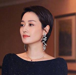 Comércio Exterior Jóias exageradas Irregular Ma Yichen completa Diamante Sexy Dinner Party Bundy Brincos