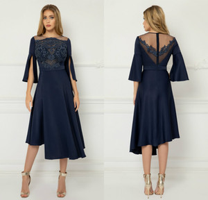 Elegant Satin Navy 2020 Mother of the Bride Dresses Half Sleeve Lace Beaded Prom Gowns Knee Length Wedding Guest Dress