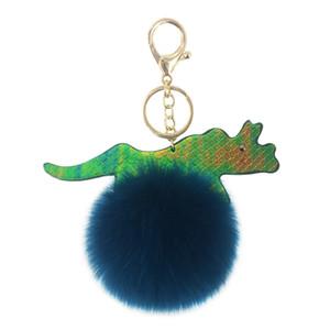 Nuove paillette riflettenti PU pelle sintetica piuma di dinosauro palla chiave clasp ciondolo signore borsa auto chiave accessori appesi piccolo