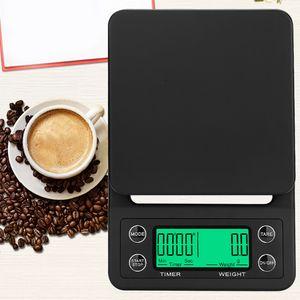 3kg 0.1g / 5kg goteo Escala de café con temporizador balanza de cocina electrónica digital LCD Pesar escalas de balance