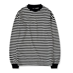 Oversize Street Style Mens Sweatshirt Crewneck Black and White Striped Tee Ribbed Long Sleeve Pullover Free Shipping