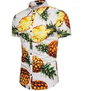 Print Designer Chemises Casual Mode manches courtes Polos Summer Beach T-shirt Hauts pour hommes Vêtements pour hommes Pineapple