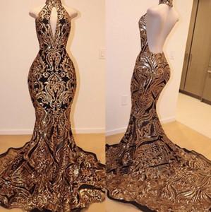 Lindo ouro e preto Sparkly Prom Dresses 2019 Hign Pescoço Backless varredura Trem Africano Sexy trompete ocasião vestidos de noite desgaste