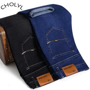 CHOLYL Men's Autumn Winter Jeans Business Fashion Classic Style Elastic Slim Trousers Jeans Male 6 Design Black And Blue colors