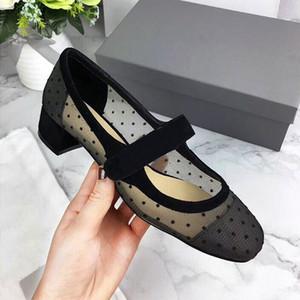 Sıcak Satış-İlkbahar Yaz Newset Kalın Topuk Grenadine Polka Dot Yüksek Topuk Kadın Ayakkabı Dantel Kare Ayak Döngü Sapato Feminino Oymak