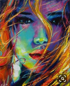 Palette knife portrait Face Oil painting Hand painted Francoise Nielly Character figure canva wall Art 6