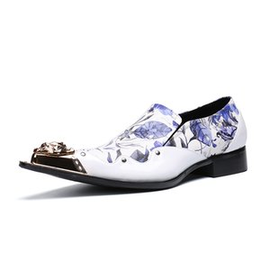 Men Dress Shoes Floral Pattern Men Formal Shoes Leather Fashion Groom Wedding Oxford Dress