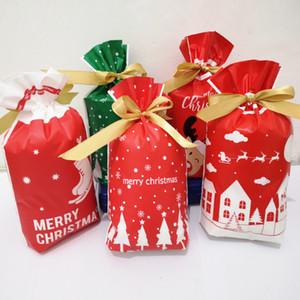 Sac de biscuit de Noël bonbons Joyeux Noël Père Noël Bonhomme de neige cellophane Cookie Fudge Bonbons Sacs cadeaux Biscuit Pouches 50pcs / lot Sac