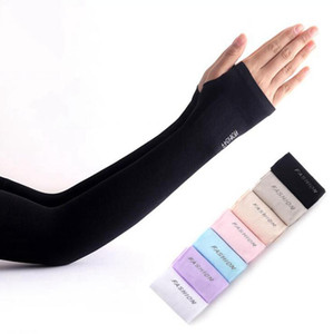 Sun Protection Arm Sleeve Solid Color Women Summer Sun UV Protection Ice Cool Cycling Running Fishing Climbing Arm Cover LJJO7942