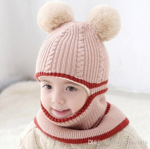 Bib one knitted hat baby hat winter plus velvet thick windproof cold wool ball cap 2-5 years face child