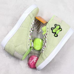 2019 Rana monopatín X SB Blazer Mediados QS Calzado deportivo ocasionales para las mujeres de los hombres la luz verde del ante diseñador de zapatos casuales Zapatos