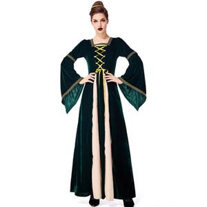 Vestido religioso medieval europeo retro Vestido de corte aristocrático verde oscuro Disfraz de Halloween para mujeres adultas Escenario Traje de cosplay