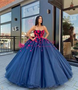 De luxe gonflé bleu marine Floral Prom robes de soirée 2020 spaghetti bustier en dentelle Tutu pleine longueur princesse Occasion robes de soirée portent