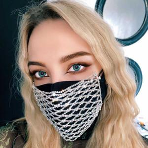 De moda Rhinestone Bling Jewlery Cara Máscara de joyería de las mujeres elástico hueco Cuerpo de la cara del club de noche decorativo joyería 5,0