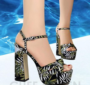 Summer women's shoes in London chunky super-high heels round head watertight platform satin floral print single strappy sandal