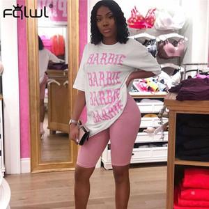 FQLWL Casual 2 Piece Set Mulheres Ternos Outfits Oversized T Camisa e resultados: Biker Shorts Set Ladies Treino Feminino Verão