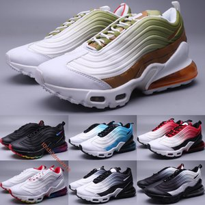 High Quality Air Cushion Plus TN Running Shoes For Men 2020 Designer Leather Gradient White Green Rainbow Outdoor Sneakers Size 40-45