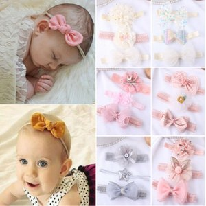 3шт / Set младенца шнурка девушки Модельные аксессуары цветок оголовье ленты Упругие головной убор Дети диапазона волос Новорожденные лук для Baby Girl 0-3Years