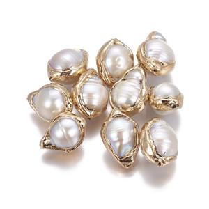 5pcs Natural Keshi pérolas Beads para fazer jóias, nucleadas Pérola, banhado a ouro, Nuggets, F60 de Ouro