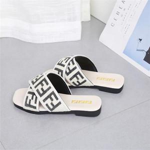 Women Shoes Slippers Flat Heel Flip Flops Ladies Sandals Summer Letters Webbing straps cross Square head Slides Beach scuffs 35-42