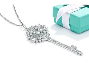 Collier heureux Porte clé Victoria, 925 Bijoux en argent CZ Zircon Cristal Collier Femme de mode pull chaîne femmes cadeau 45cm chaîne