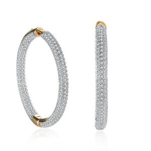 Regali Festa sontuoso elegante forma orecchini di Champagne Gold Circle Zircon del mosaico HoopHuggie Orecchini Accessori romantico San Valentino