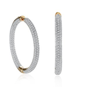 Romantic Elegant Gold Champagne Hoop&Huggie Gifts Shape Mosaic Zircon Valentine's Earring Accessories Circle Earrings Day Sumptuous Kgujn