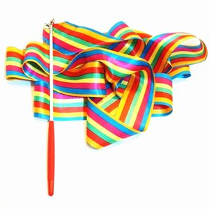 Fita Dança 2pcs 2M / 4M Ginásio Ginástica Rítmica Art Gymnastic Ballet Streamer Twirling Rod Outdoor Games esporte para crianças Crianças Brinquedos