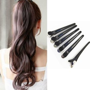 12 Pcs Professional Hairdressing Tool Sectioning Clips Hair Styling Tool Duckbill Clip Hairdressing Plastic Clip Large-Black Large