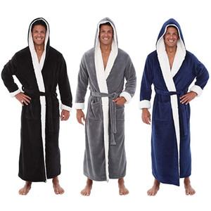 Peignoir homme d'hiver pour hommes Allongé peluche Châle Peignoir Accueil Vêtements Manches longues Robe Manteau Badjas # 35