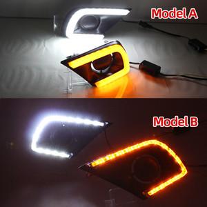 1 Çifti LED DRL Gündüz 2013 2014 2015 dönüş sinyali Sarı İçin Toyota Innova ile ışık Led sis lambası kapağı çalışan