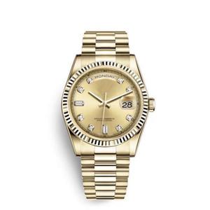 41MM золото Циферблат Автоматического Sapphire Двойного Автокалендарь президент бриллиантовый браслет час маркеры Мужские часы Fixed Рифленого ободок Часы