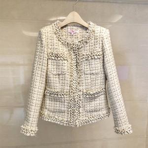 JSXDHK Kleine Düfte Frauen Troddel-Jacken-Mantel Runway Herbst-Winter-Tweed mit Perlen verziert Perle dünner Fringe Weave Overcoat