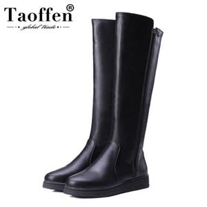 Taoffen Hiver Chaussures Femmes En Cuir Pu Genou Haut Bottes Zapatos Mujer Appartements Plate-Forme Vintage Bottes D'équitation Femme Taille 34-43