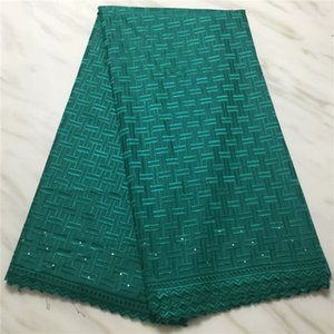 bez ECP133 İsviçre vual dantel malzemesini dikmek için en son yeşil Afrikalı pamuk dantel kumaş (5yards / lot)