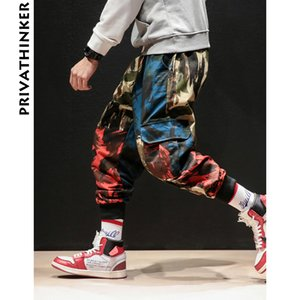 Privathinker Designer Brand Ins 2018 Hombres Joggers Hombre Hiphop Camo Cargo Pantalones Moda masculina Streetwear Punk Camouflage Pants Y19071801