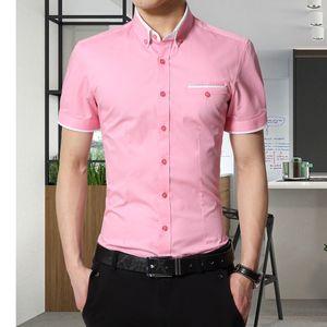 Erkekler Yaz İş Gömlek Kısa Kollu Yatak açma Yaka Tuxedo Gömlek Erkekler Gömlekler Büyük Boy 5XL