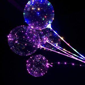 18/24 pulgadas manija Globo ligero del globo del LED luminoso fiesta de cumpleaños boda Globos de helio transparente Bobo Decoración Niños LED