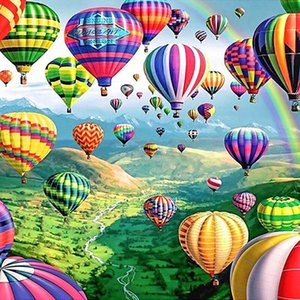 5d Diy Diamond Embroidery Mountain And Hot Air Balloon Picture Diamond Painting Kit Wall Paintings For Living Room